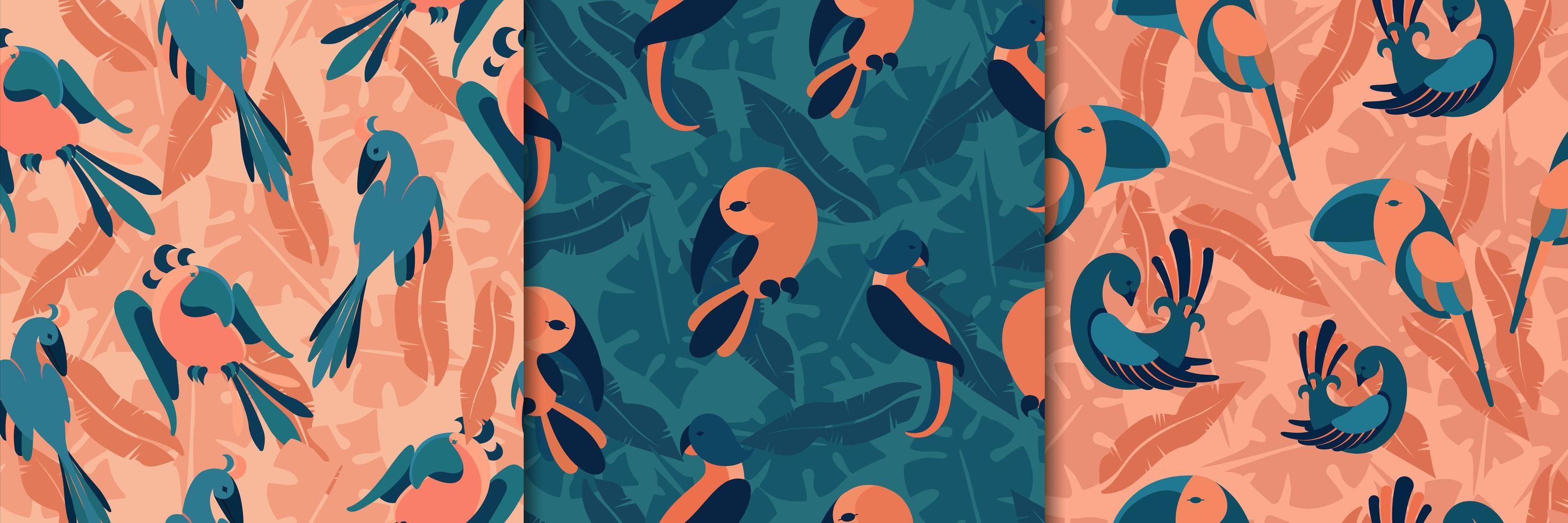 fåglar i sömlösa mönster i djungeln vektor