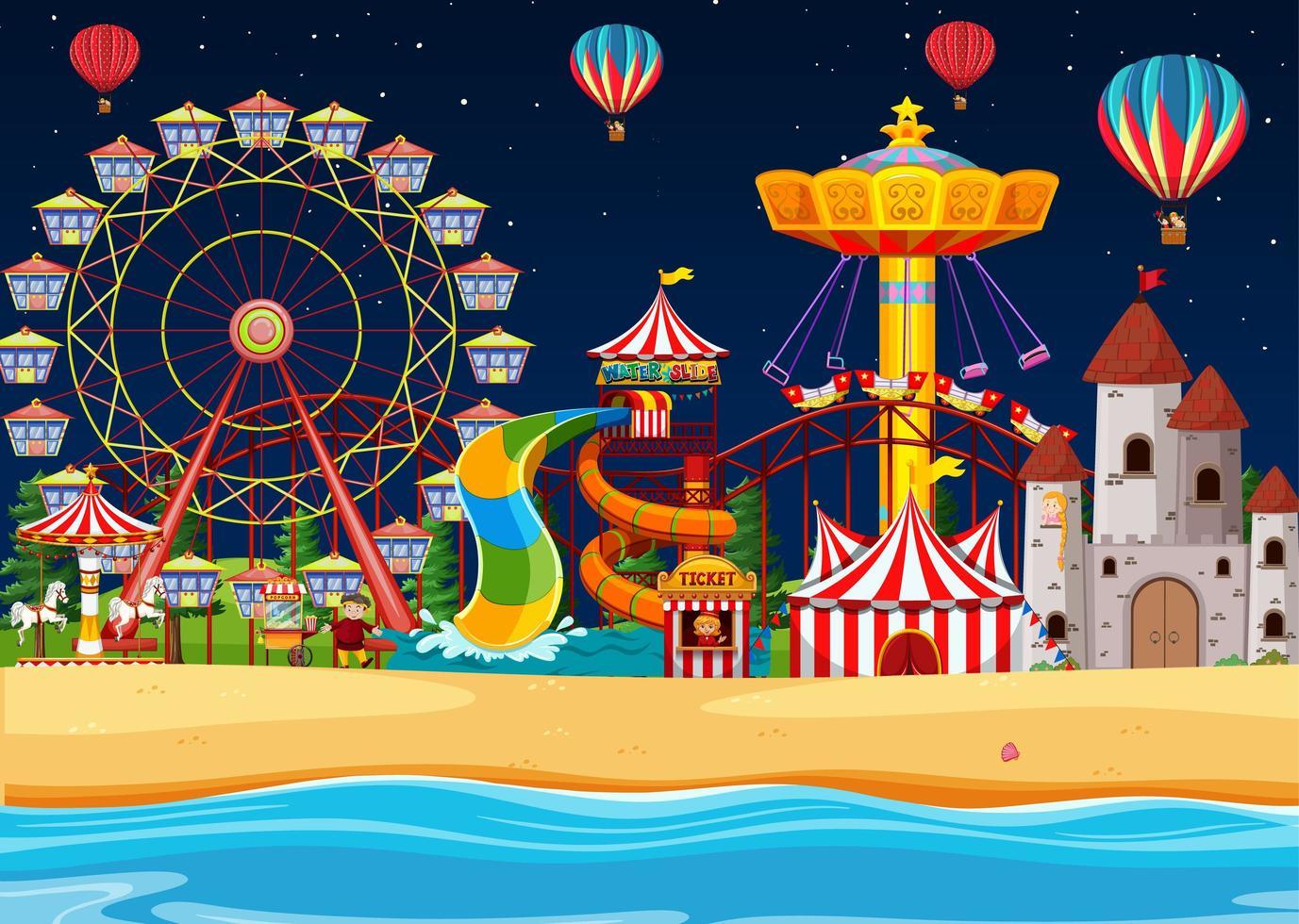 Vergnügungspark mit Strandszene in der Nacht vektor