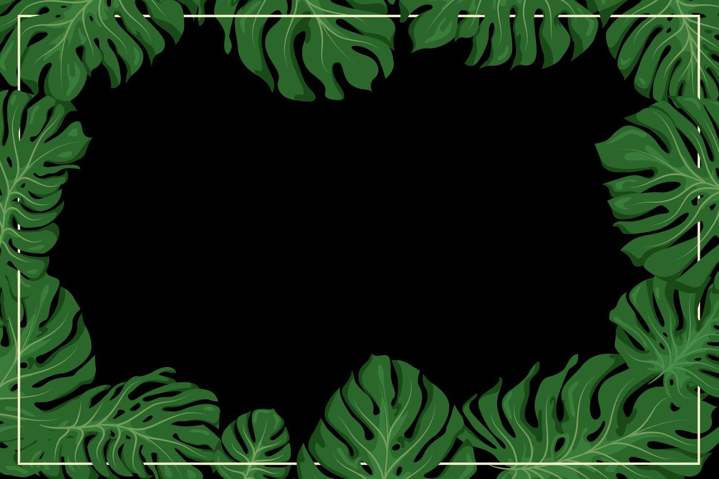 Monstera Rahmen für Tapete oder Hintergrund vektor