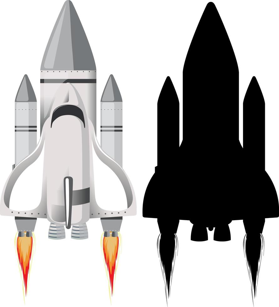 Rakete mit seiner Silhouette auf weißem Hintergrund vektor