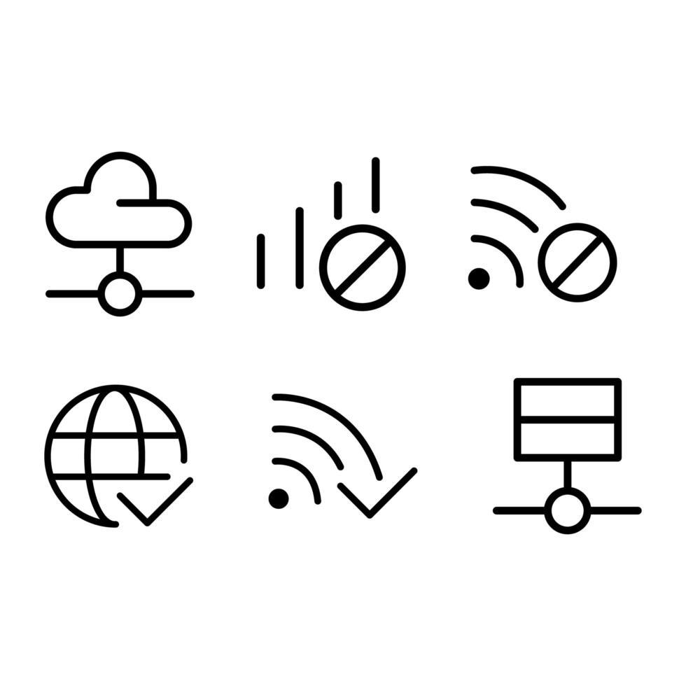 Internet-Netzwerk-Icon-Design-Set vektor