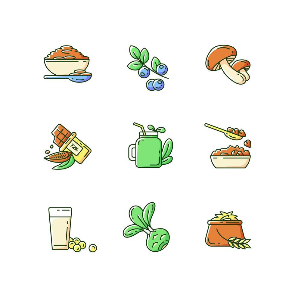vegetarische Mahlzeiten, Farbsymbole eingestellt vektor