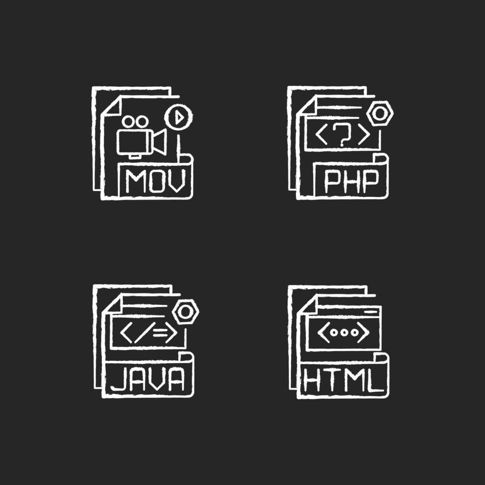 Dateitypen, Kreide weiße Symbole gesetzt vektor