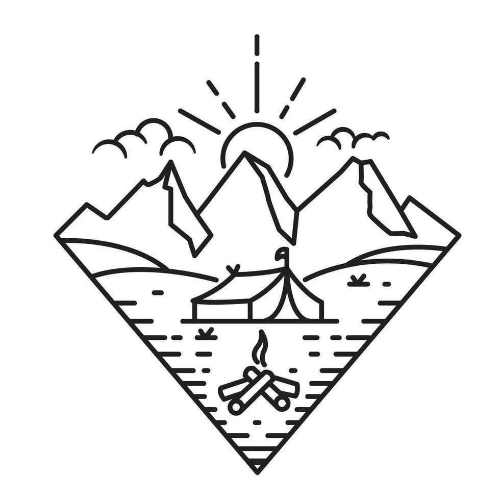 Sommercamp, Strichzeichnungen vektor