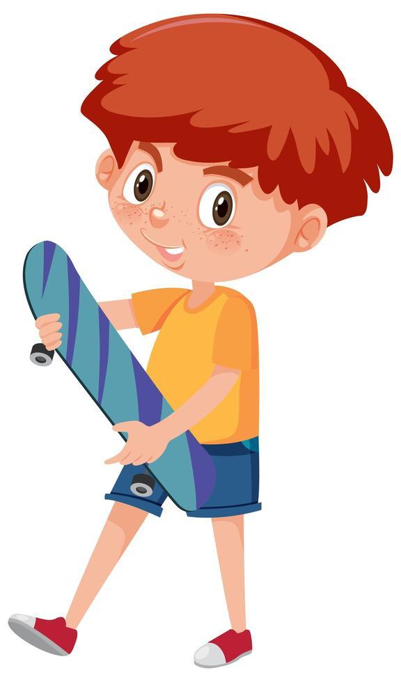 Junge hält Skateboard-Zeichentrickfigur vektor