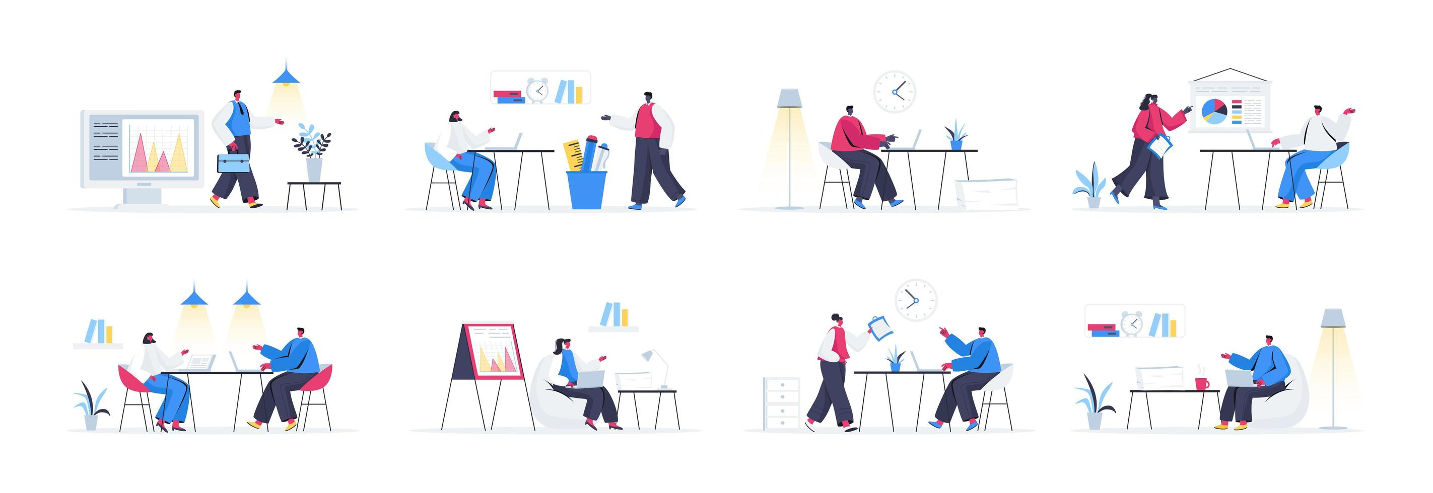 Bündel von Office-Management-Szenen vektor