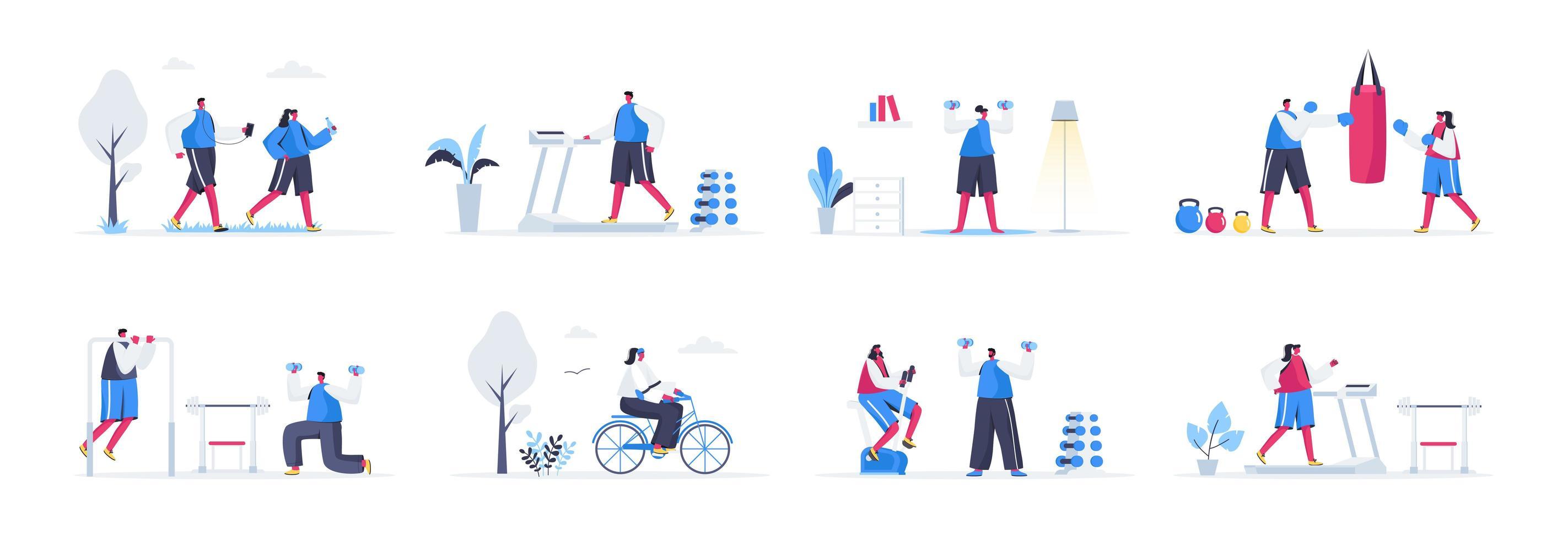 Bündel von Fitness-Trainingsszenen vektor