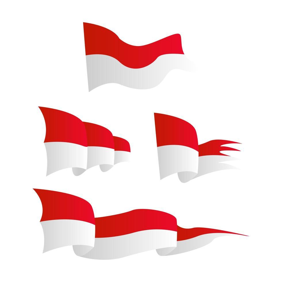 wehende Flaggen von Indonesien gesetzt vektor