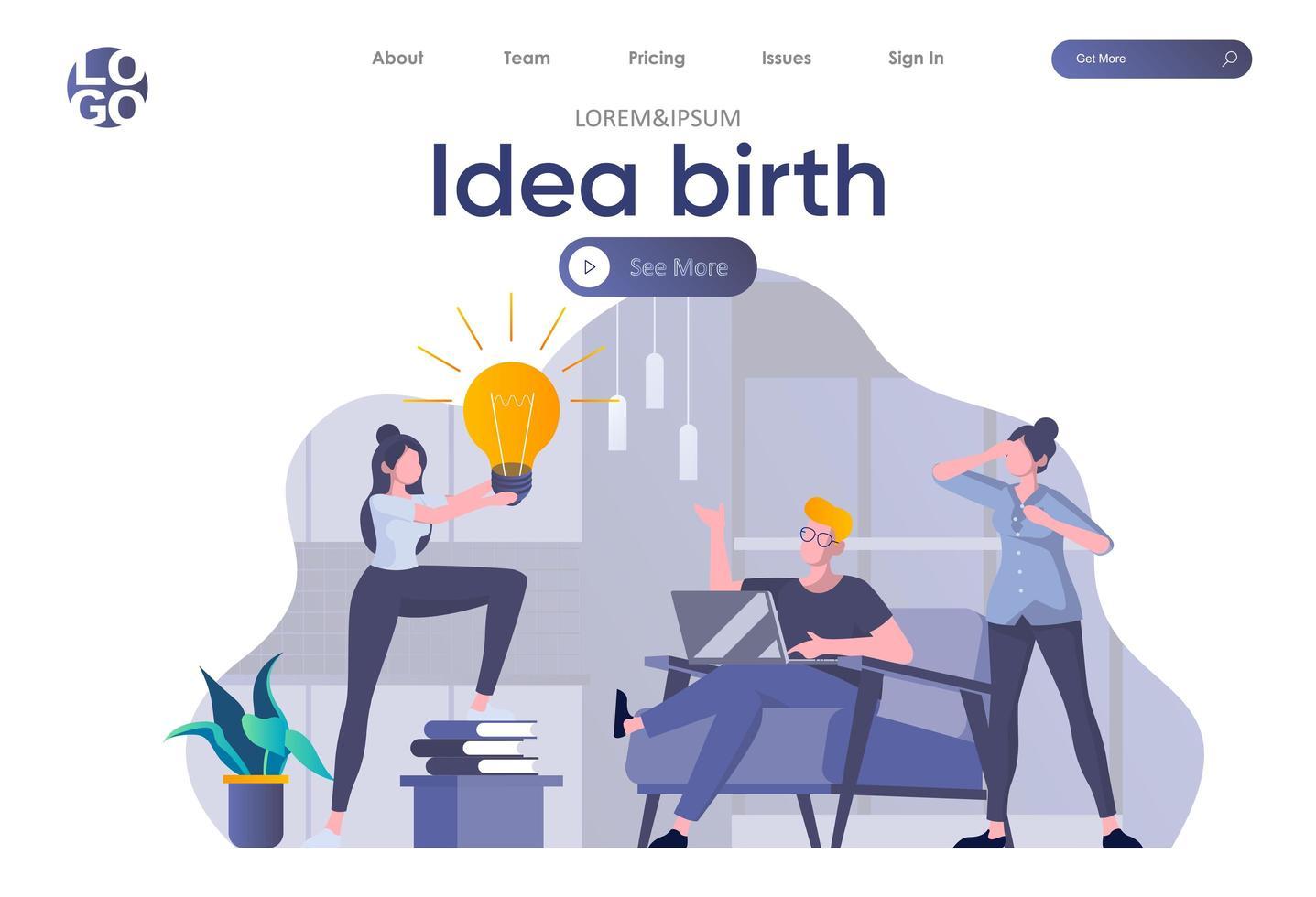 idé födelsmålsida med rubrik vektor