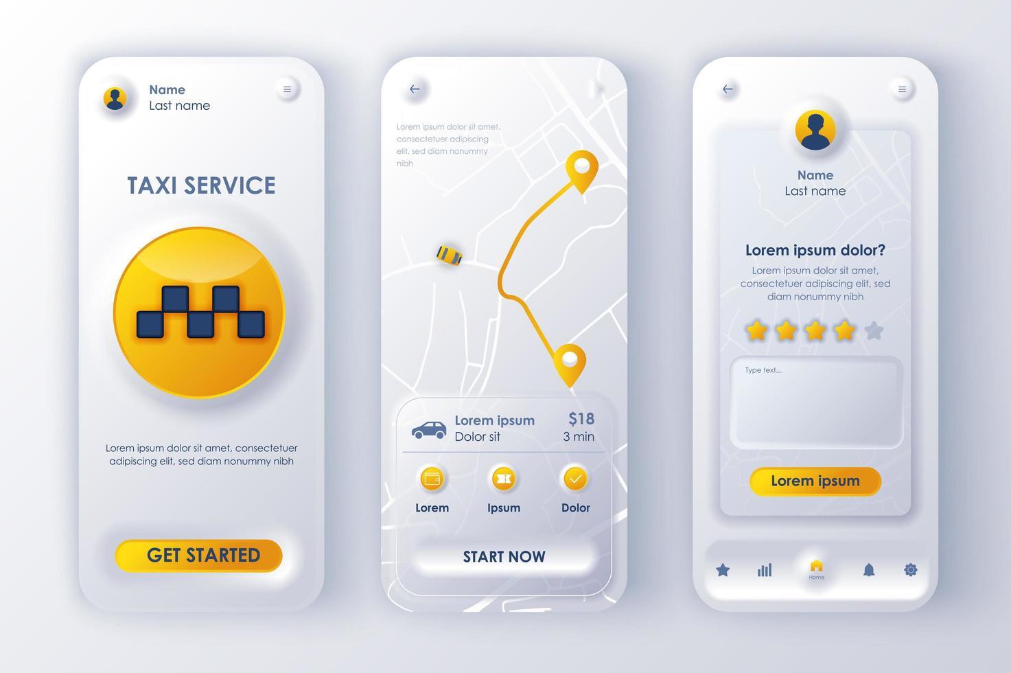 Taxiservice einzigartiges neomorphes Design-Kit vektor