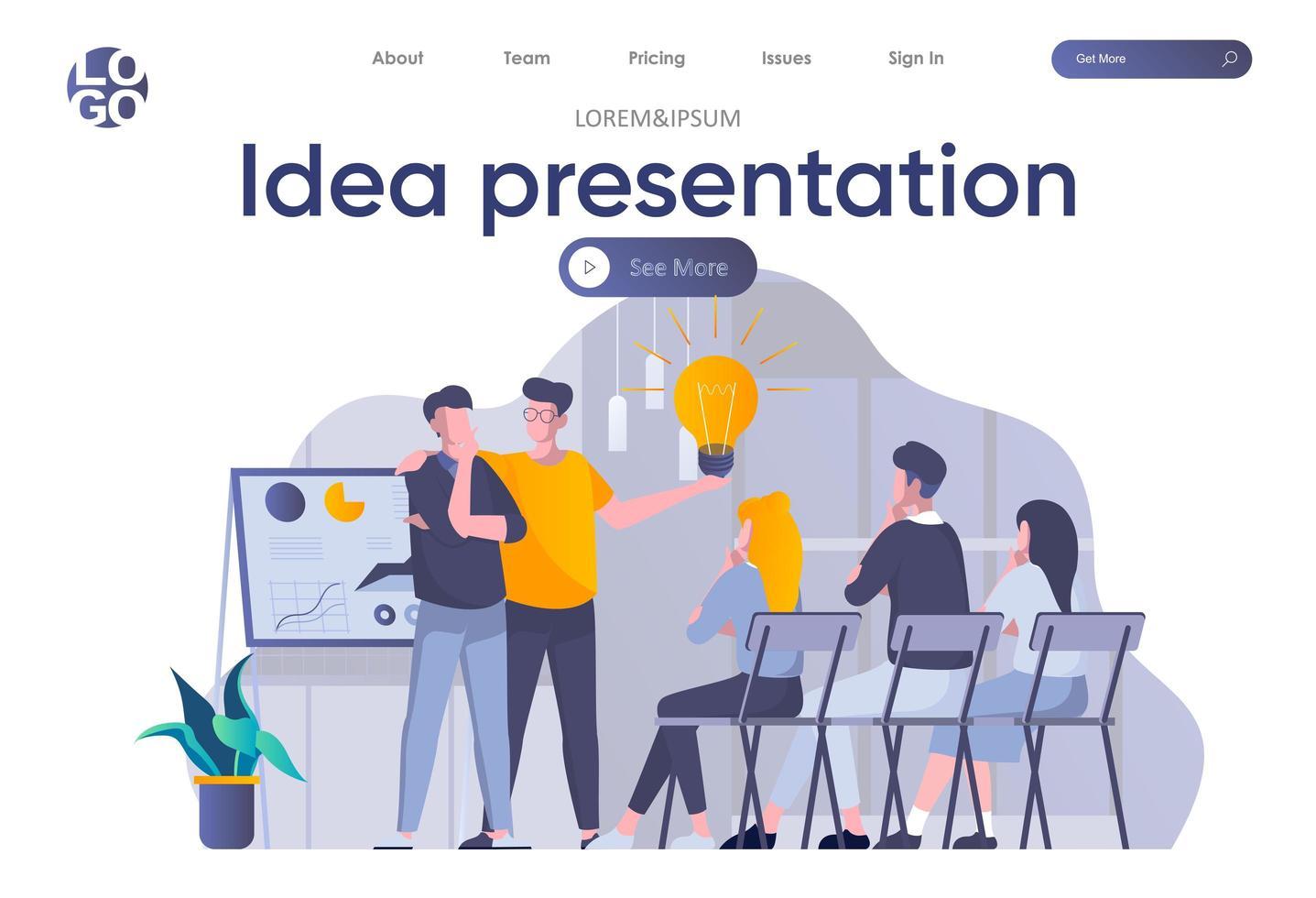 Ideenpräsentations-Landingpage mit Header vektor