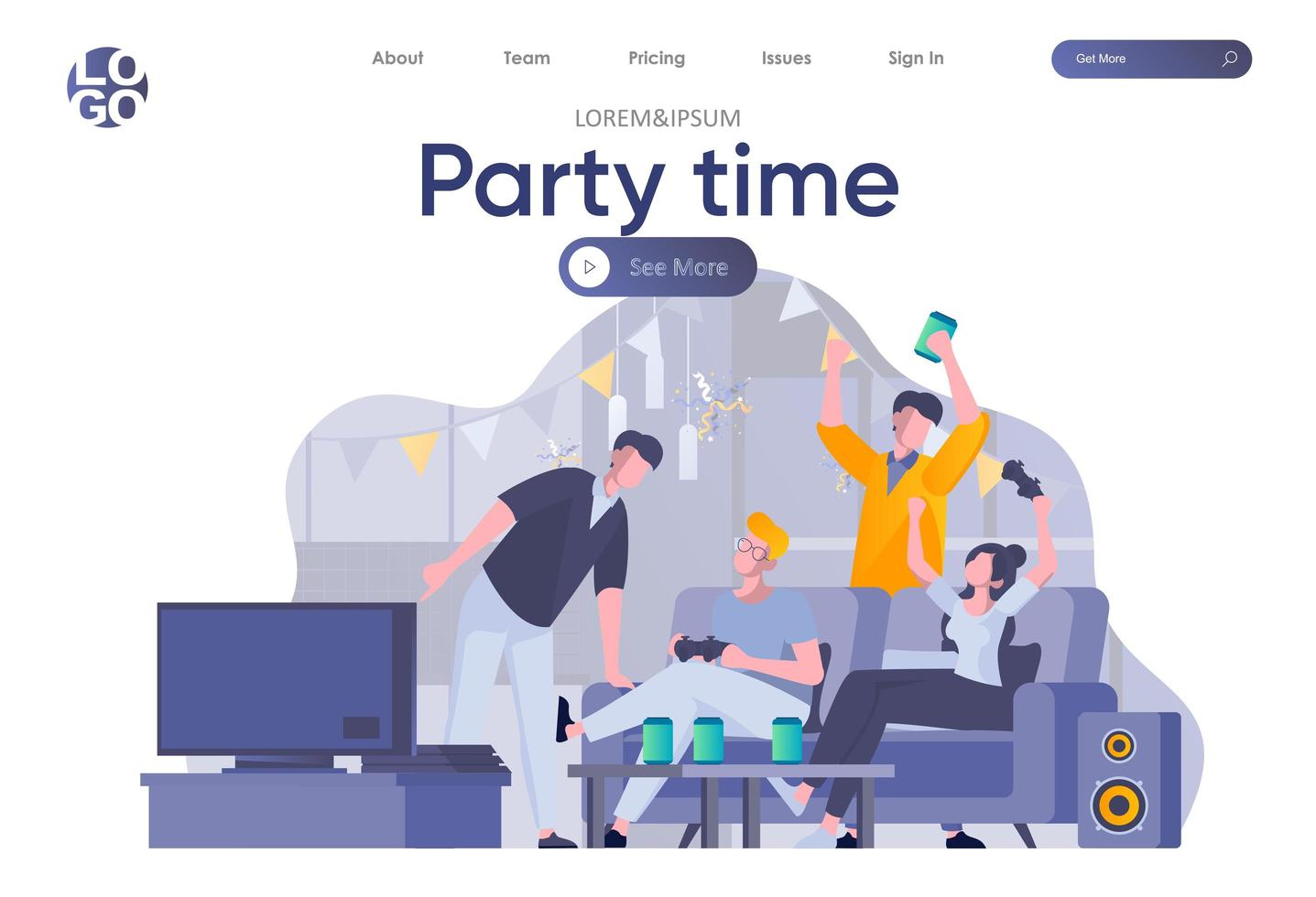 Party Time Landing Page mit Header vektor
