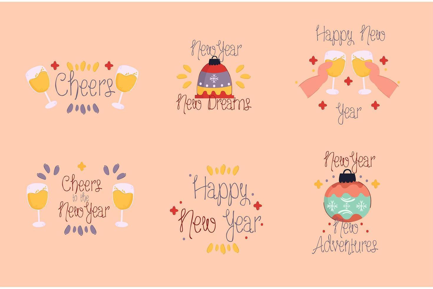 Frohes neues Jahr Abzeichen Pack vektor