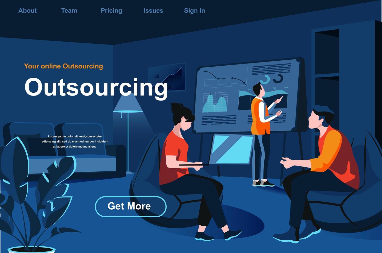 Isometrische Zielseite des Outsourcing-Dienstes vektor