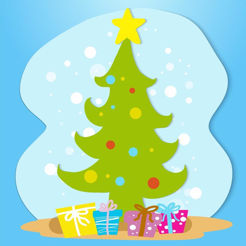 Hand gezeichnete Art Weihnachtsbaum und Geschenke vektor