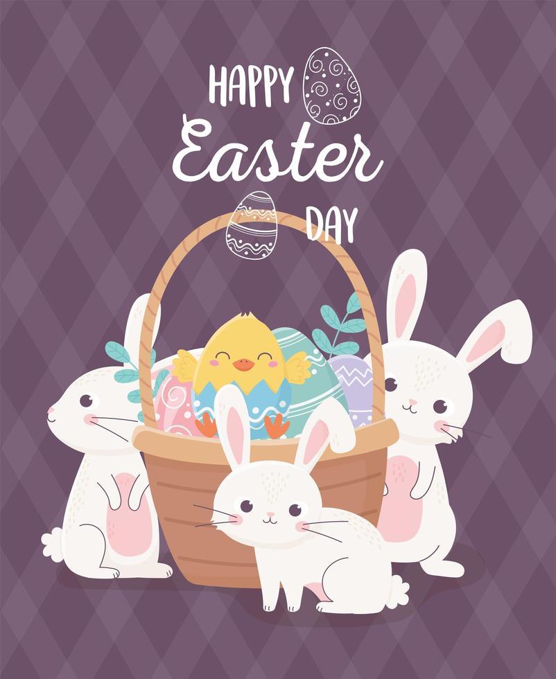 söta kaniner och ägg för fest påskdagen vektor