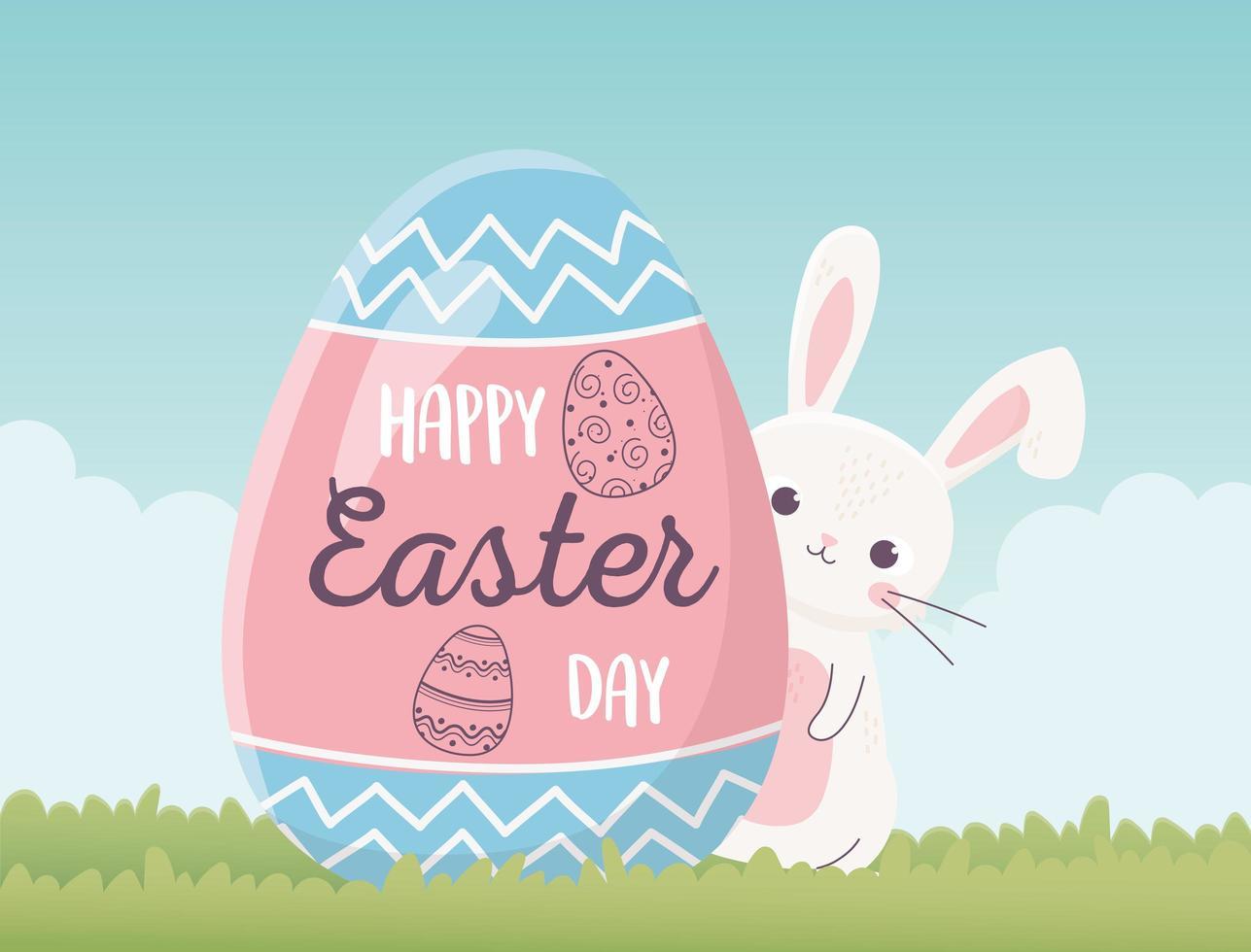 süßes Kaninchen und Ei für Ostertagsfeier vektor