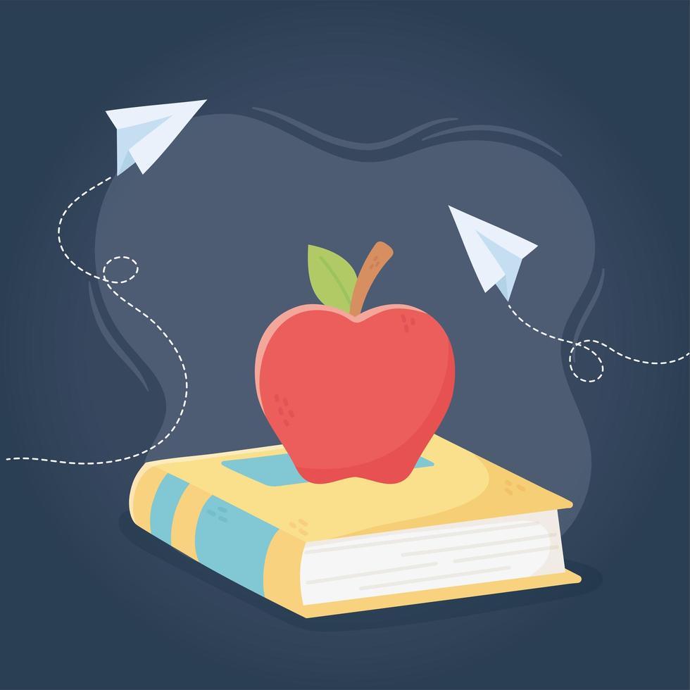 Buch und Apfel für den Lehrertag vektor