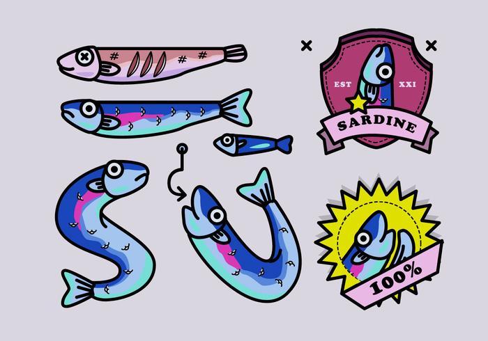 Sardine Fisch-Cartoon-Vektor-Illustration vektor