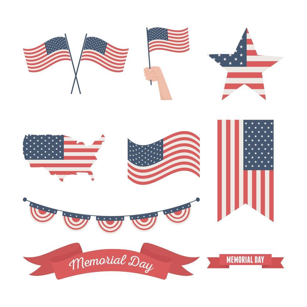 Amerikanische Flagge für Gedenktag Feier Icon Set vektor