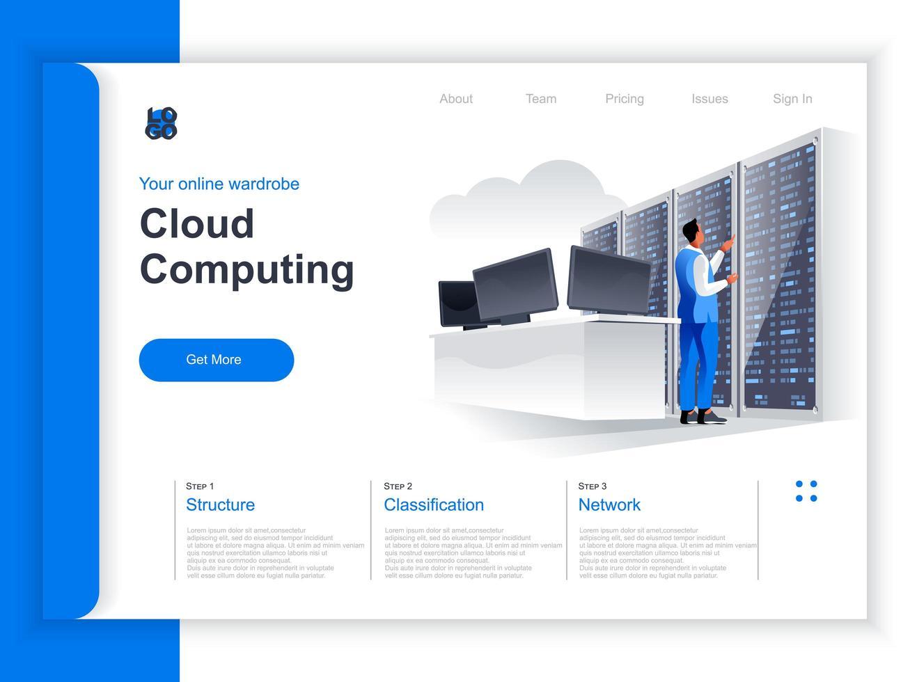 Isometrische Zielseite für Cloud Computing vektor