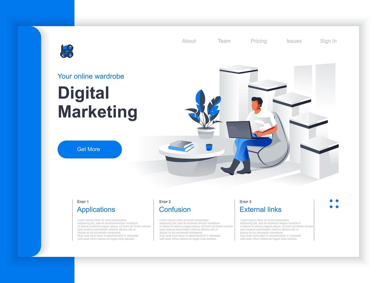 Isometrische Zielseite für digitales Marketing vektor