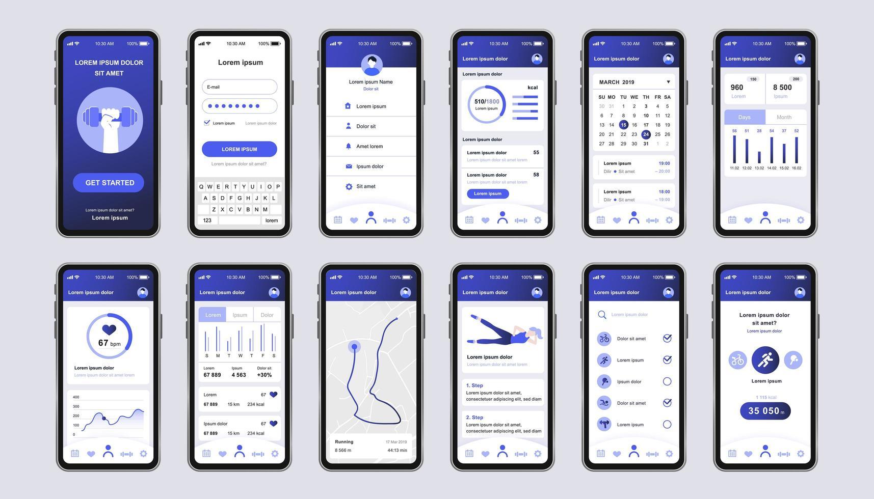 Fitness einzigartiges Design-Kit für mobile App vektor
