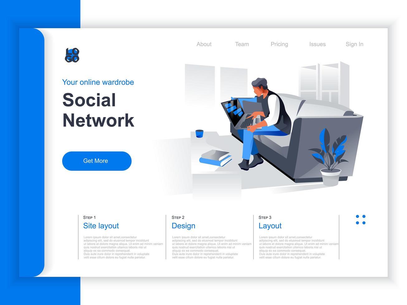 sociala nätverk isometrisk målsida vektor
