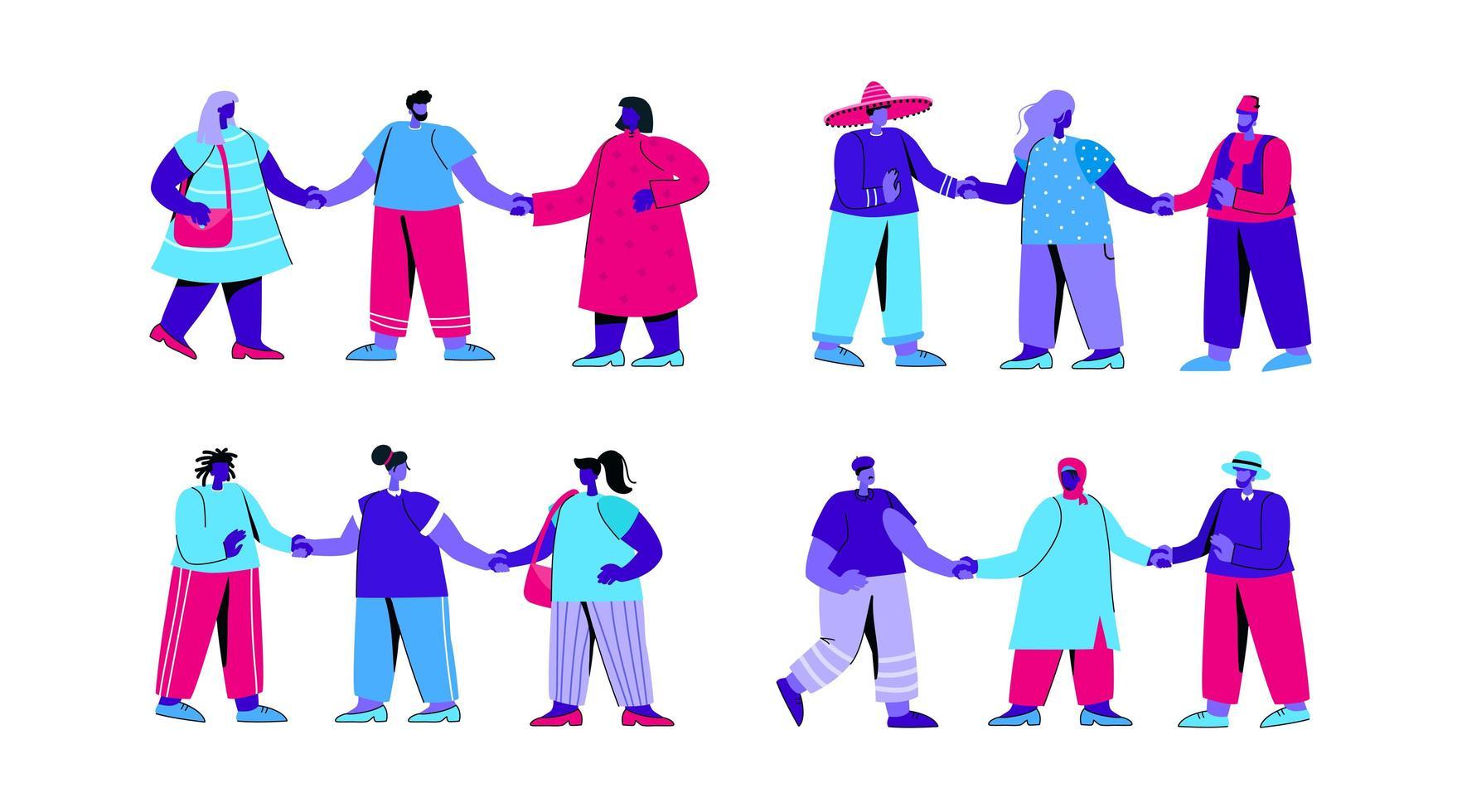 uppsättning olika grupper av män och kvinnor vektor