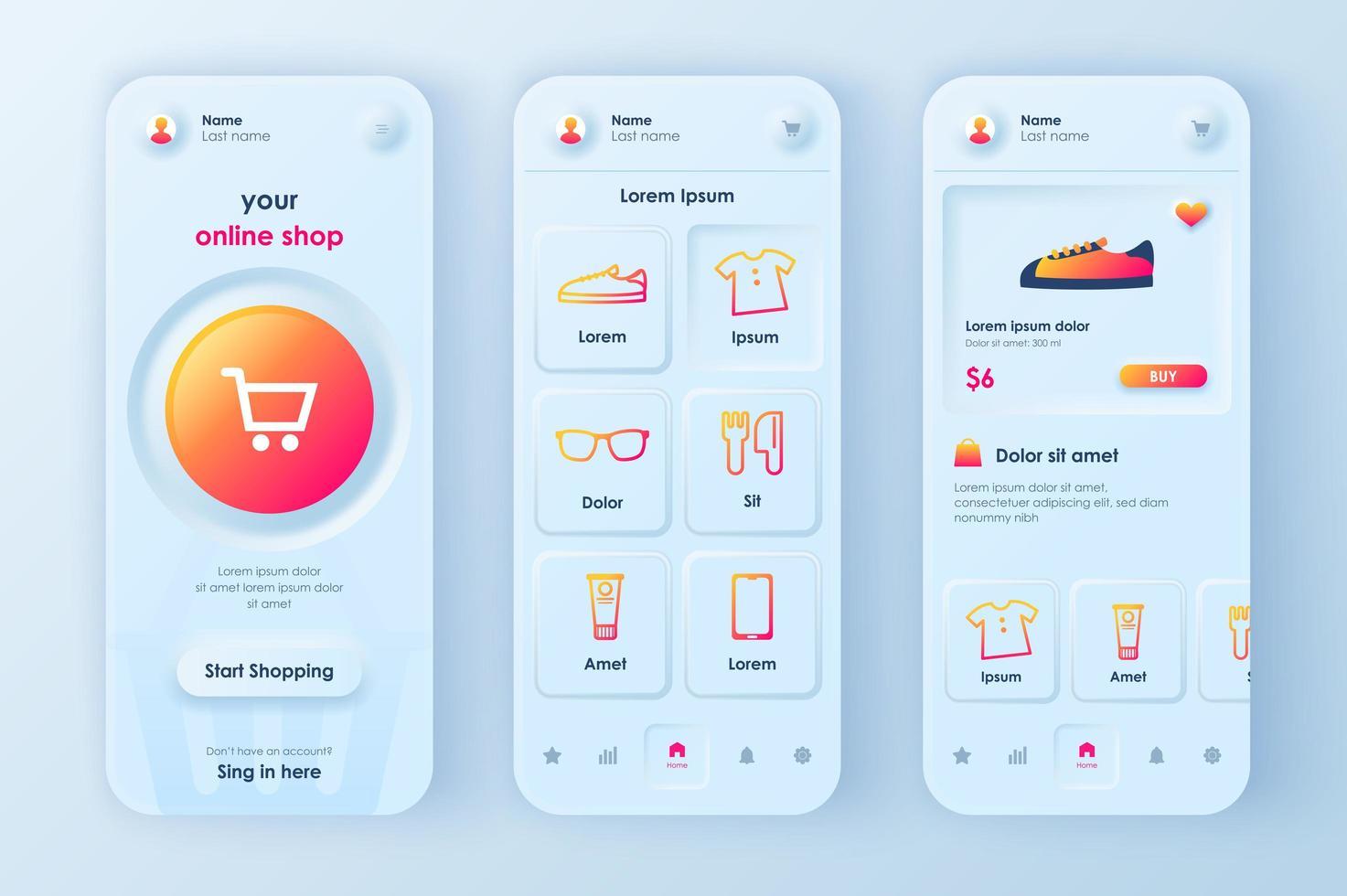 Online-Shopping einzigartiges neomorphes Design-Kit vektor