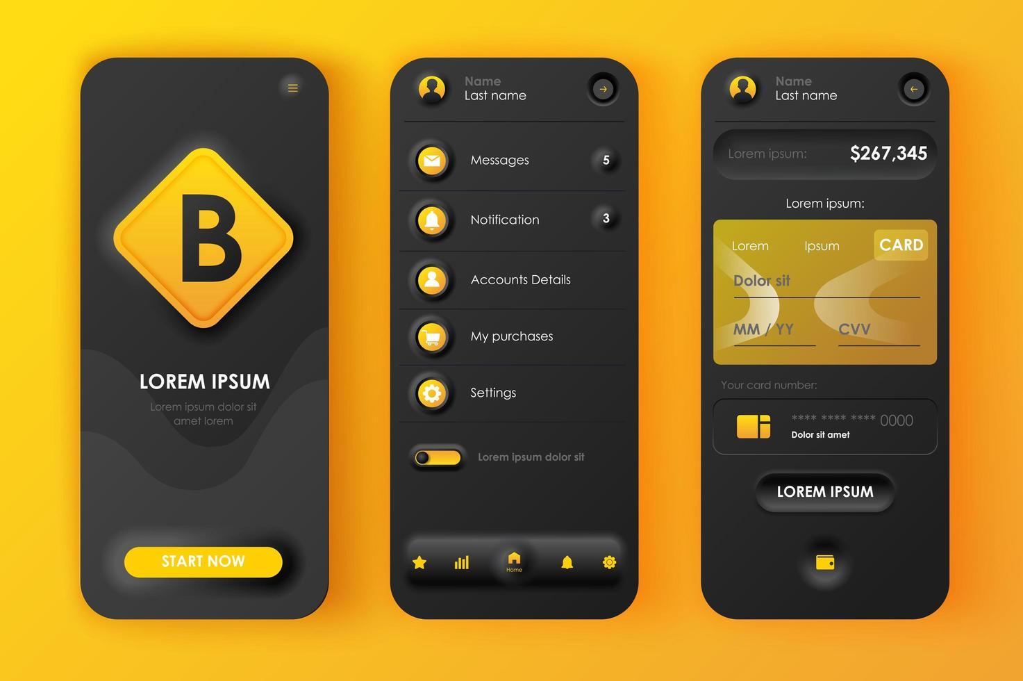 Online-Banking einzigartiges neomorphes Design-Kit vektor