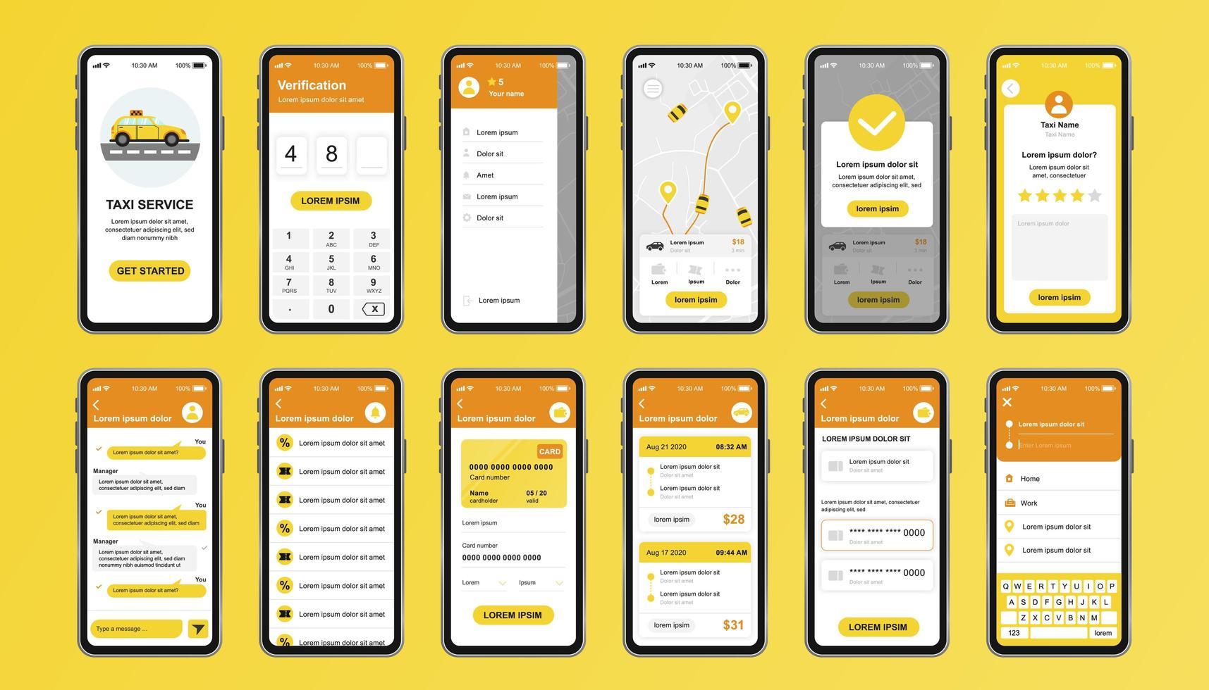 Taxiservice einzigartiges Design-Kit für mobile App vektor