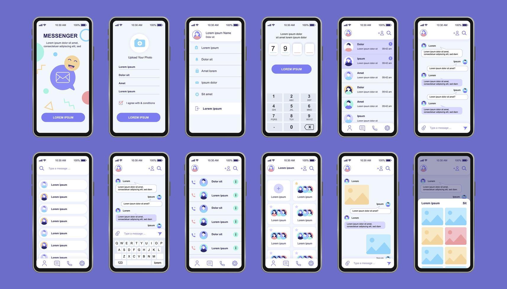 Online Messenger einzigartiges Design Kit für App vektor