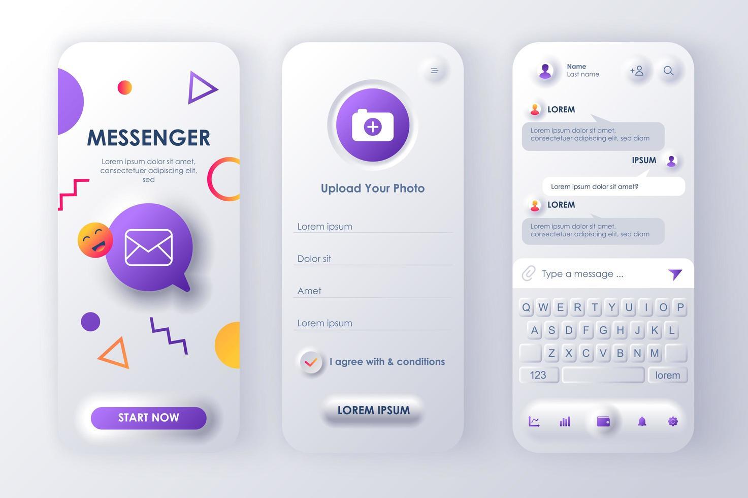 Online Messenger einzigartiges neomorphes Design Kit vektor