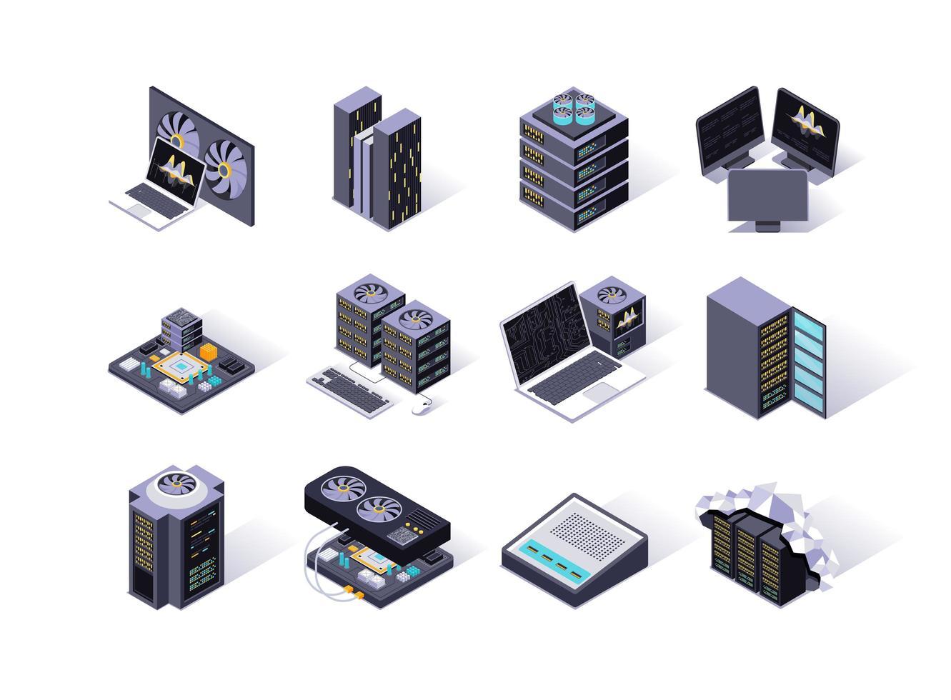 datacenter isometriska ikoner set vektor