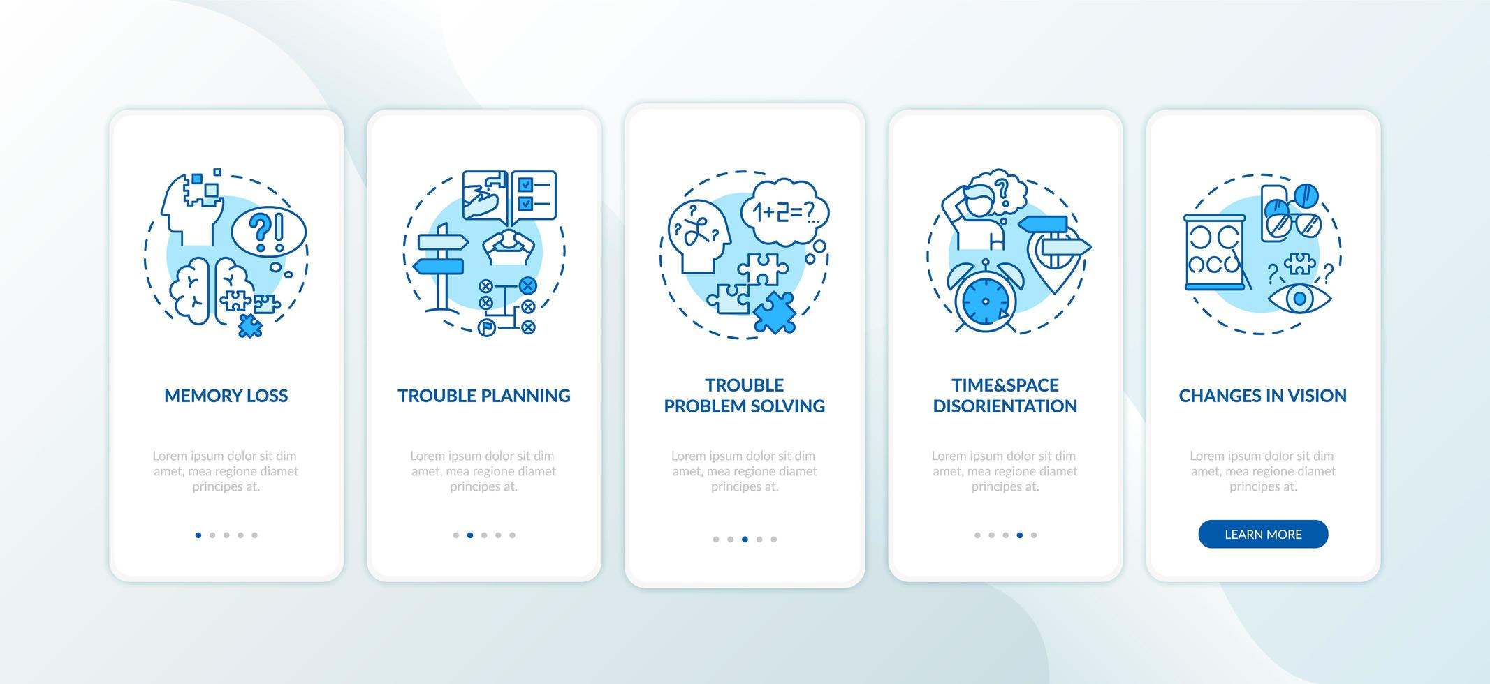 frühe Anzeichen von Demenz, Seitenbildschirme für mobile Apps vektor