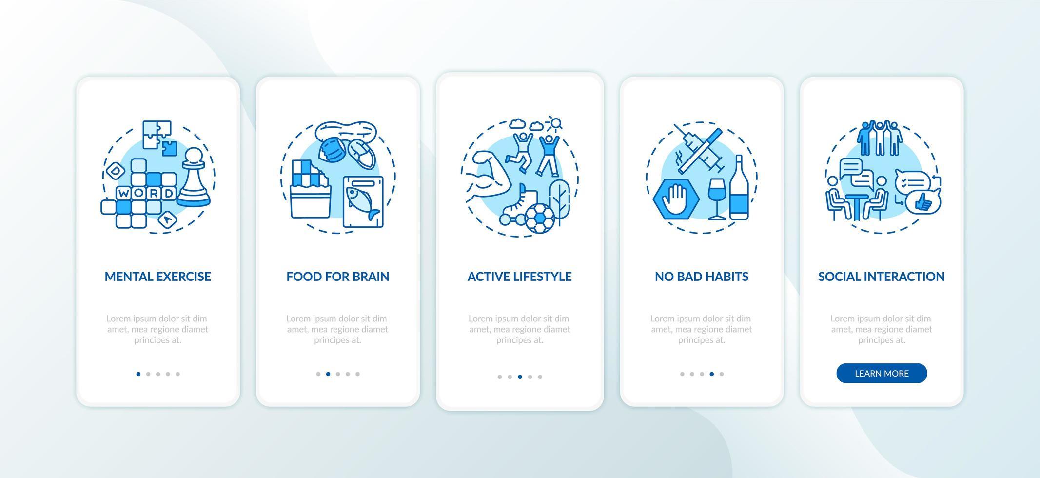 Konzepte für mobile App-Seiten im Gesundheitswesen vektor