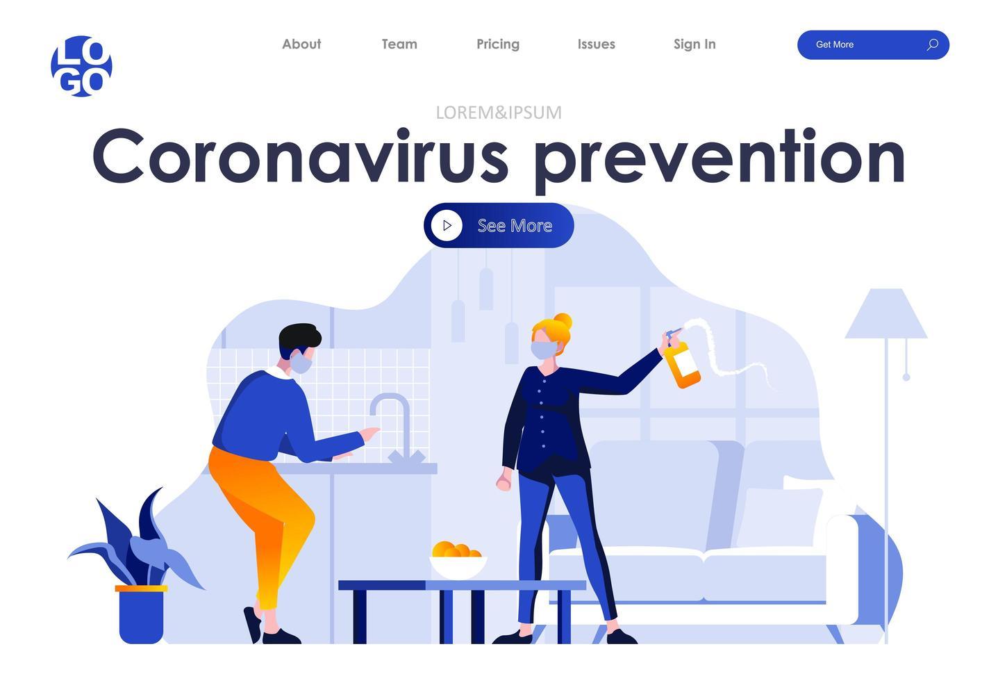 coronavirus förebyggande platt målsidesdesign vektor