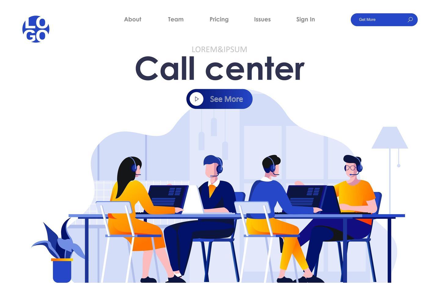 call center platt målsidesdesign vektor