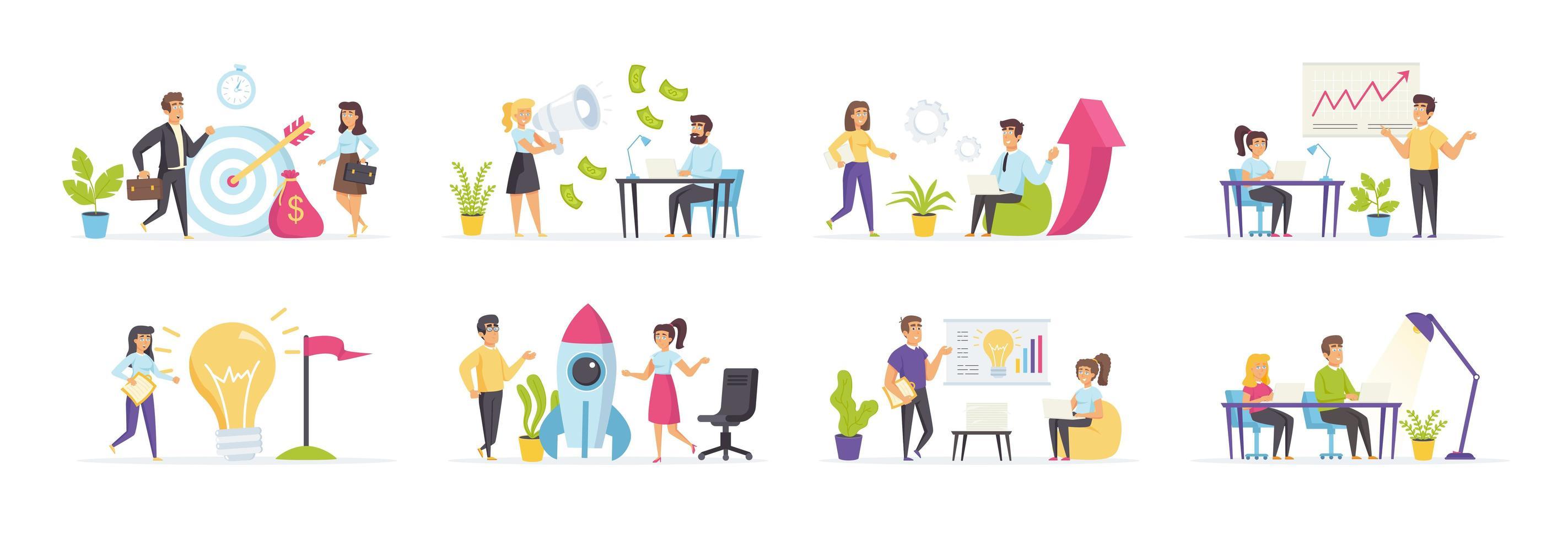 Startup-Unternehmen mit Menschen in verschiedenen Szenen gesetzt vektor