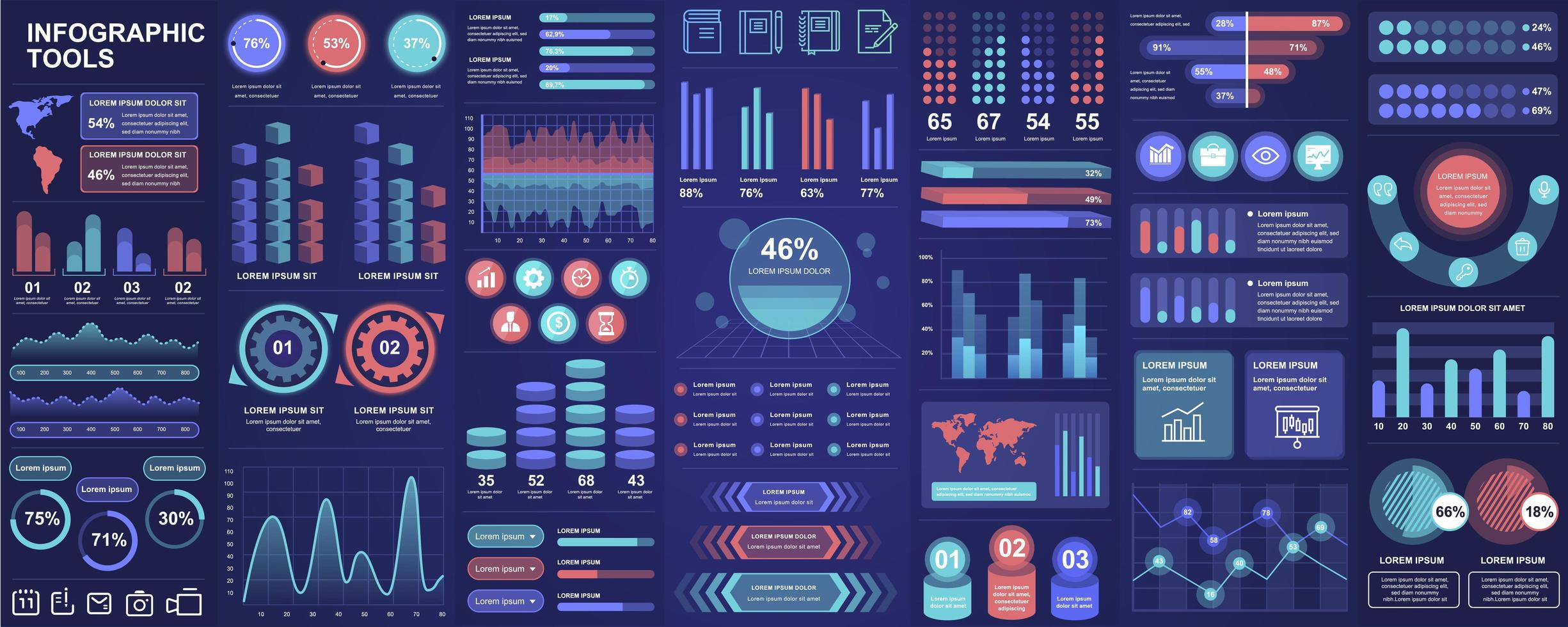 infographic, ui, ux, kit element bunt vektor
