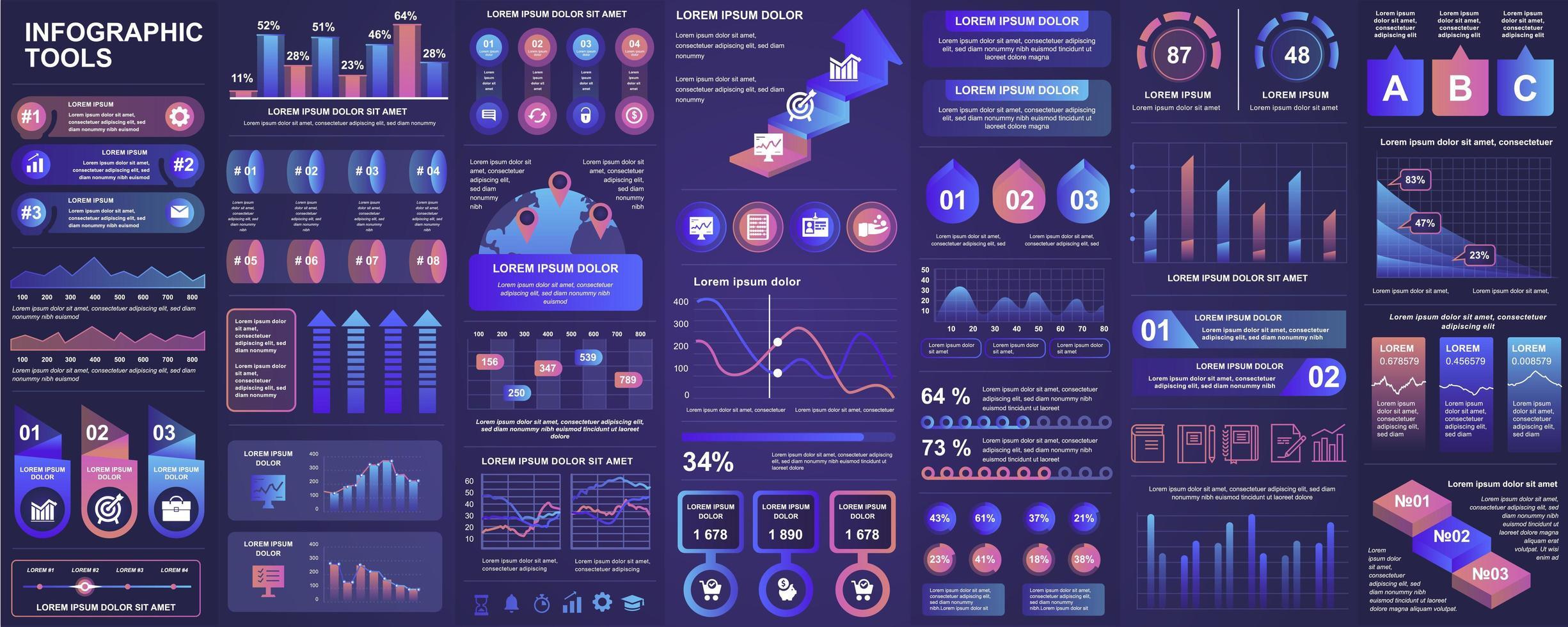 Infografik, UI, UX, Kit-Elemente bündeln vektor