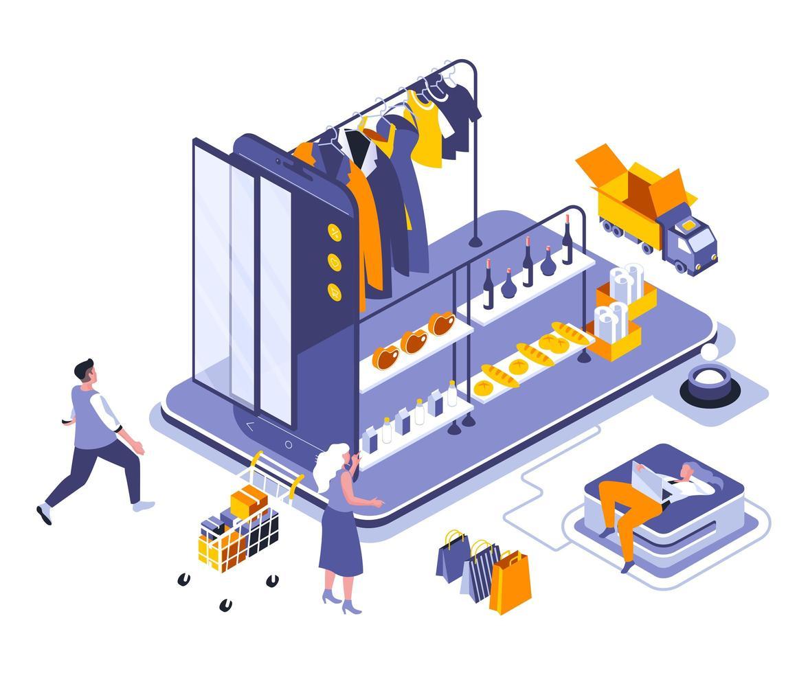 Online-Shopping isometrisches Design vektor