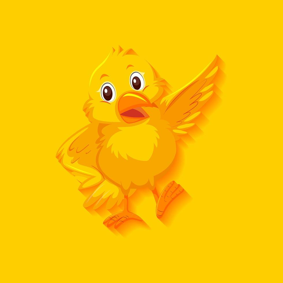 söt gul fågel seriefigur vektor
