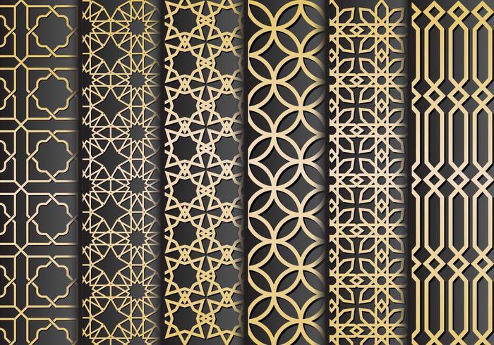 Schwarz Gold islamischen Ornamente Vektor
