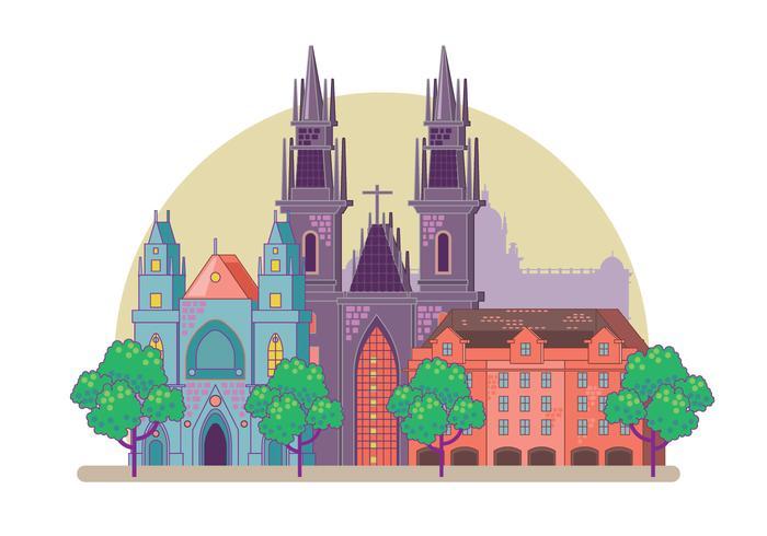 Prague City horisont vektor
