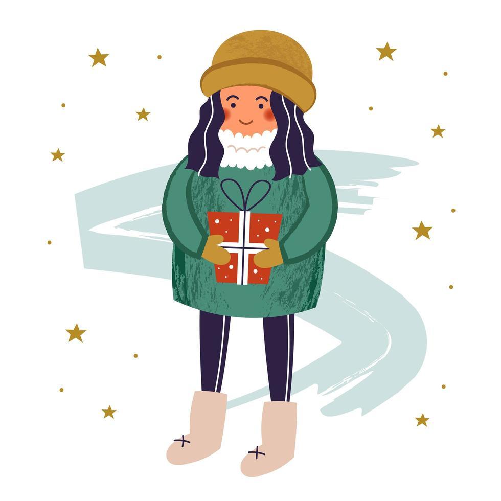 flicka karaktär i varma kläder med gåva vektor
