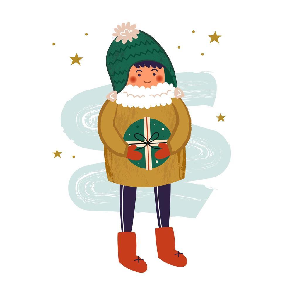 pojke karaktär i varma kläder med gåva vektor