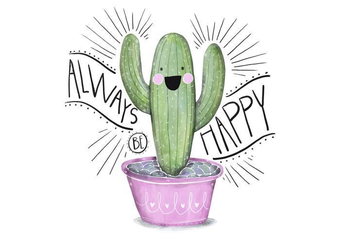 Nettes rosa und grüne Saftige Illustration Charakter Aquarell Mit Zitat vektor