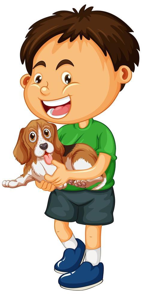 pojke med hund isolerad vektor